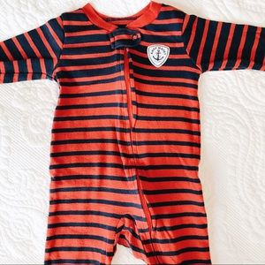 Red and Navy stripes Nautical Bodysuit Baby Boy